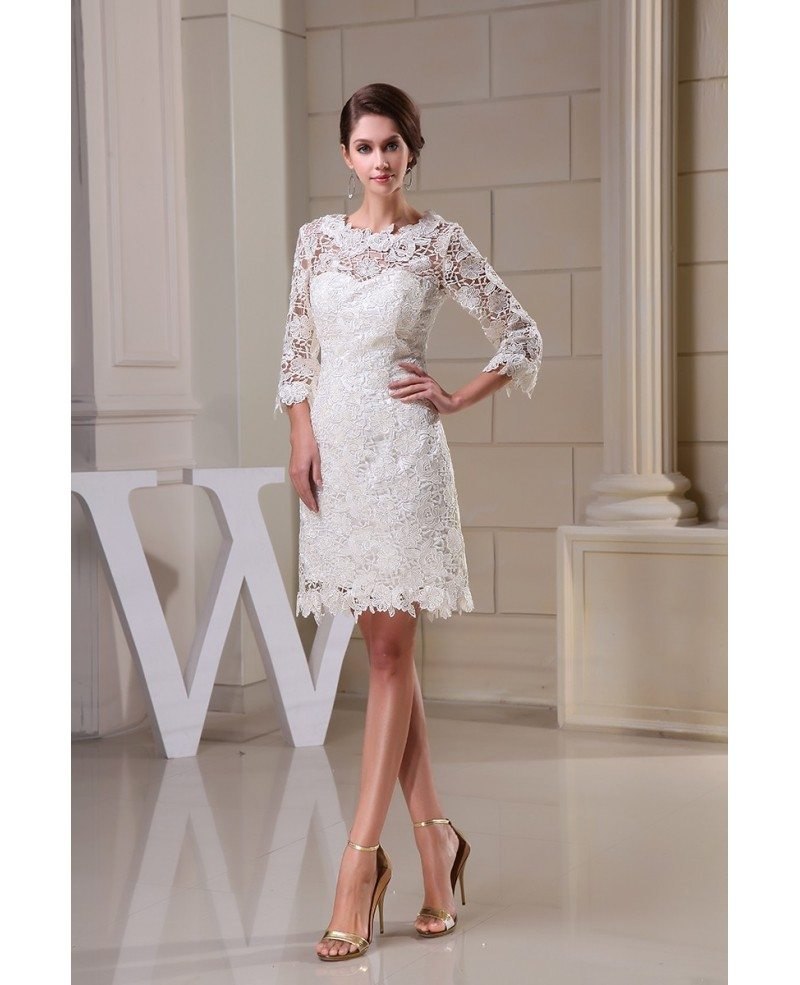 Lace short wedding dresses with sleeves for reception a for Short wedding dress with lace
