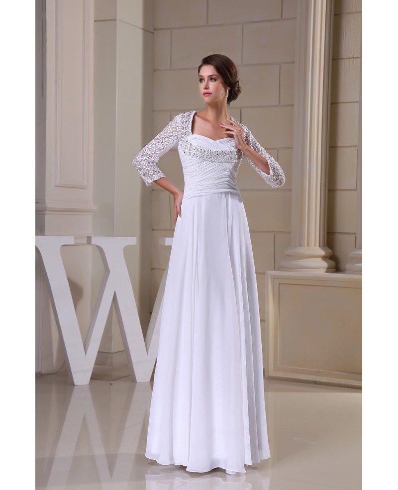 A line sweetheart floor length chiffon wedding dress with for Chiffon sweetheart wedding dress