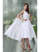 A-line High Neck Tea-length Chiffon Wedding Dress