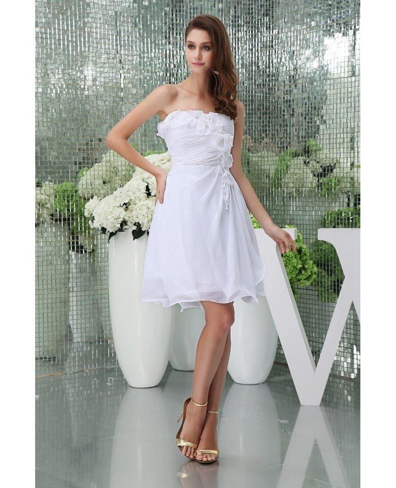 Casual Strapless Short Wedding Dresses Summer A Line