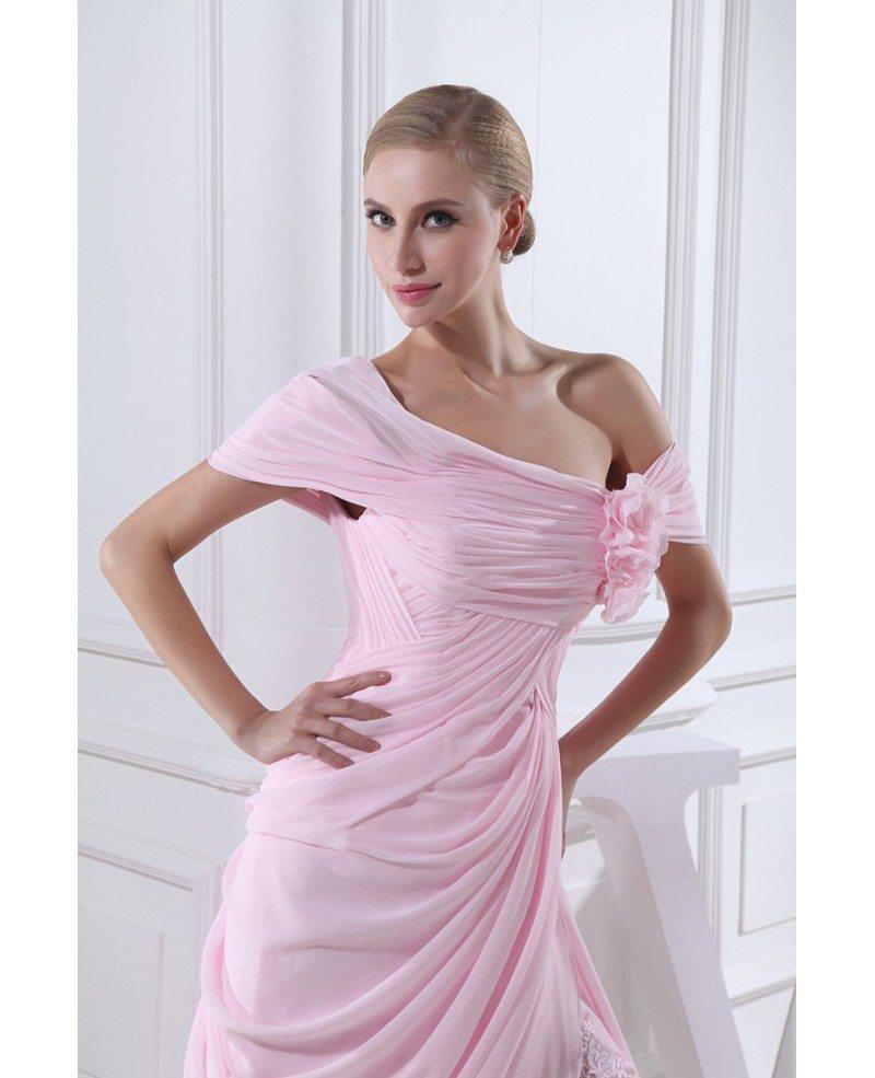 Sheath off the shoulder sweep train chiffon wedding dress for Off the shoulder chiffon wedding dress