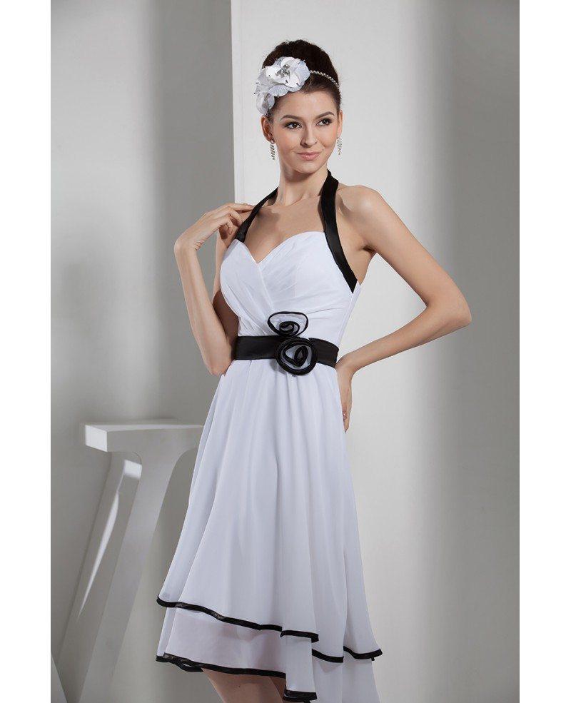 Halter Style Wedding Gowns: Halter Tea Length Wedding Dresses With Black Color Chiffon