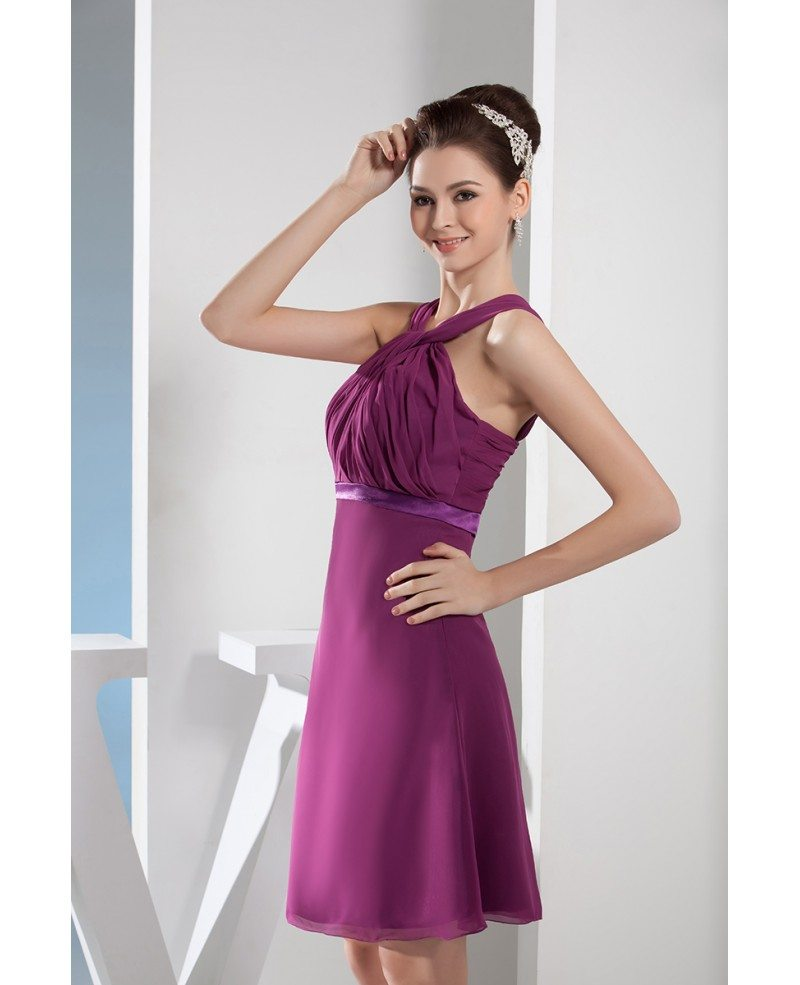 A line halter knee length chiffon bridesmaid dress op4655 for Aline halter wedding dresses