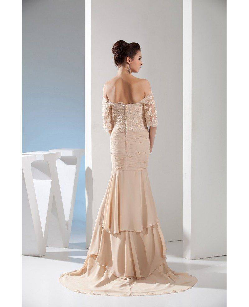 Chiffon Dressing Gown: Mermaid Off-the-shoulder Sweep Train Chiffon Evening Dress