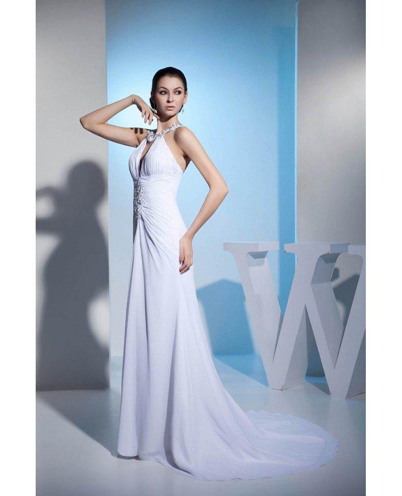 Mermaid Halter Court Train Chiffon Wedding Dress With Beading ...