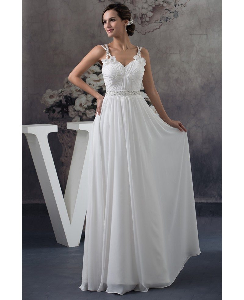 cdf43e8df890 Hover to zoom · A-line Sweetheart Floor-length Chiffon Wedding Dress With  Beading ...