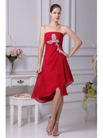 Red with White Lace Strapless Short Chiffon Bridesmaid Dress