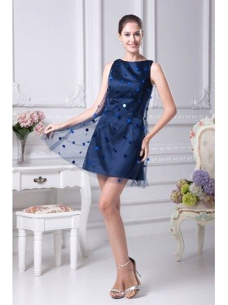Scoop Neck Navy Blue Cocktail Tulle Bridesmaid Dress without Sleeves
