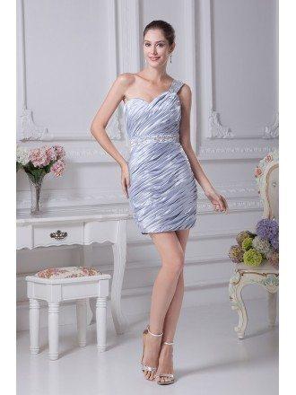 One Shoulder Strap Pleated Taffeta Beaded Short Wedding Dress in Light Blue Color