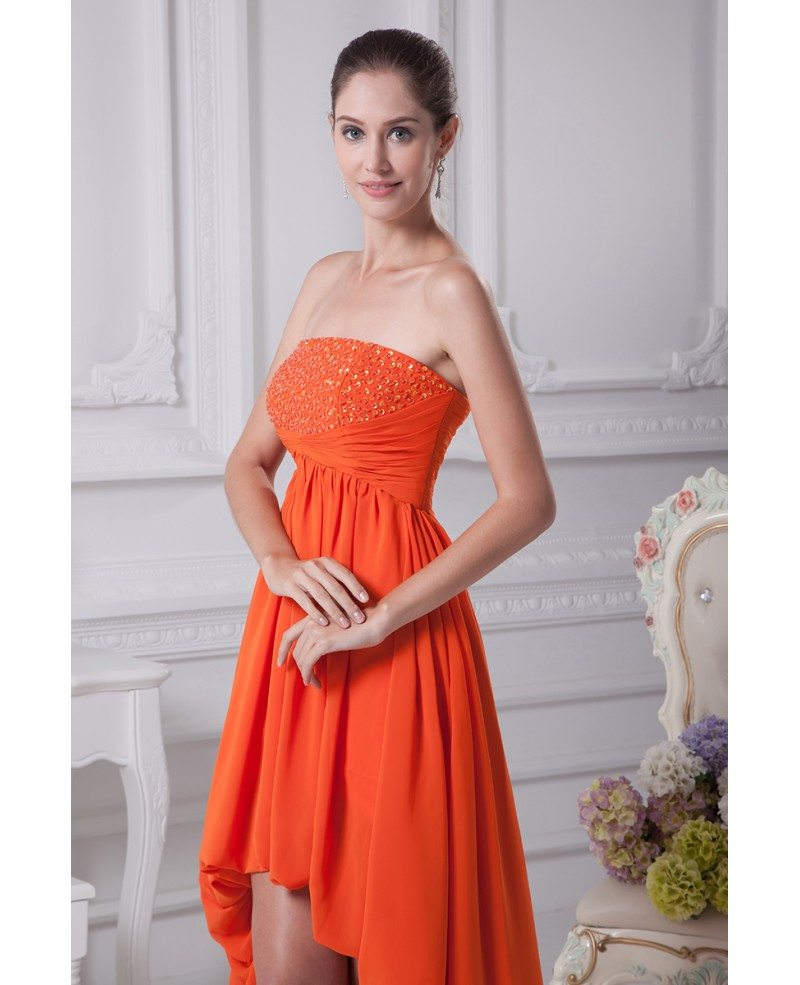 Simple Strapless Beaded Orange Prom Dress Short in Front Long in ...