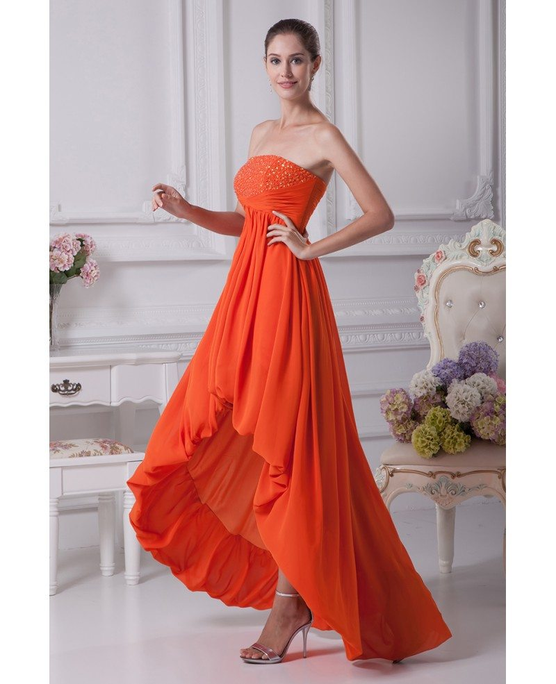 simple strapless beaded orange prom dress short in front