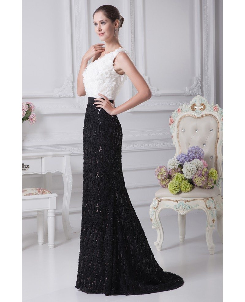Black and white sexy mermaid flowers bridal dress in one for Black mermaid wedding dresses