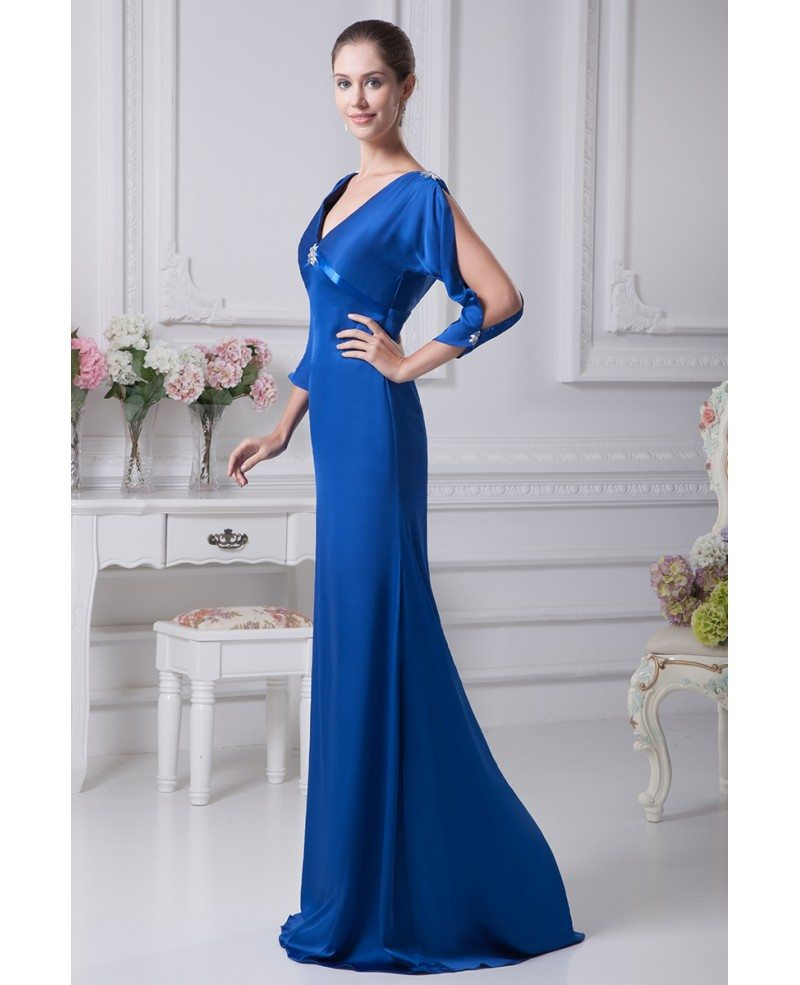 Royal Blue Simple Satin Long Sleeved Evening Dress with Deep V Top ...