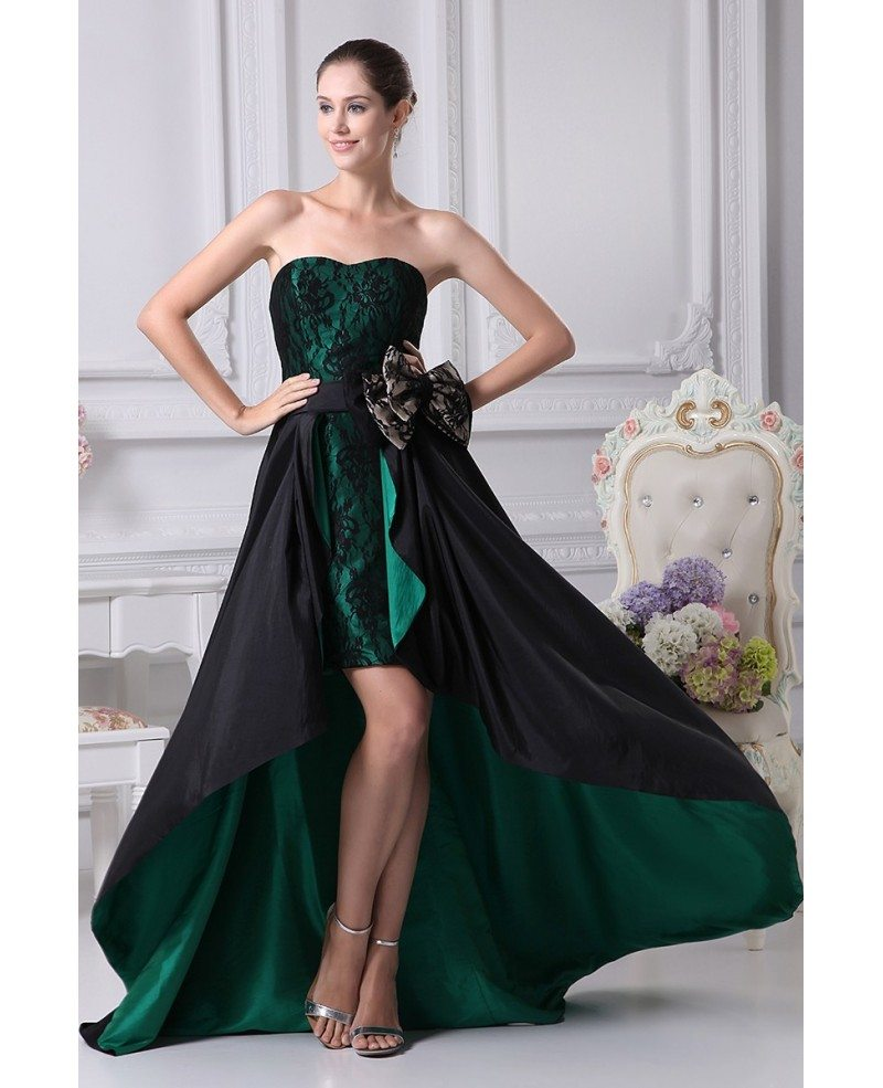 Black and hunter green strapless lace bow wedding dress in short black and hunter green strapless lace bow wedding dress in short front long back junglespirit Images