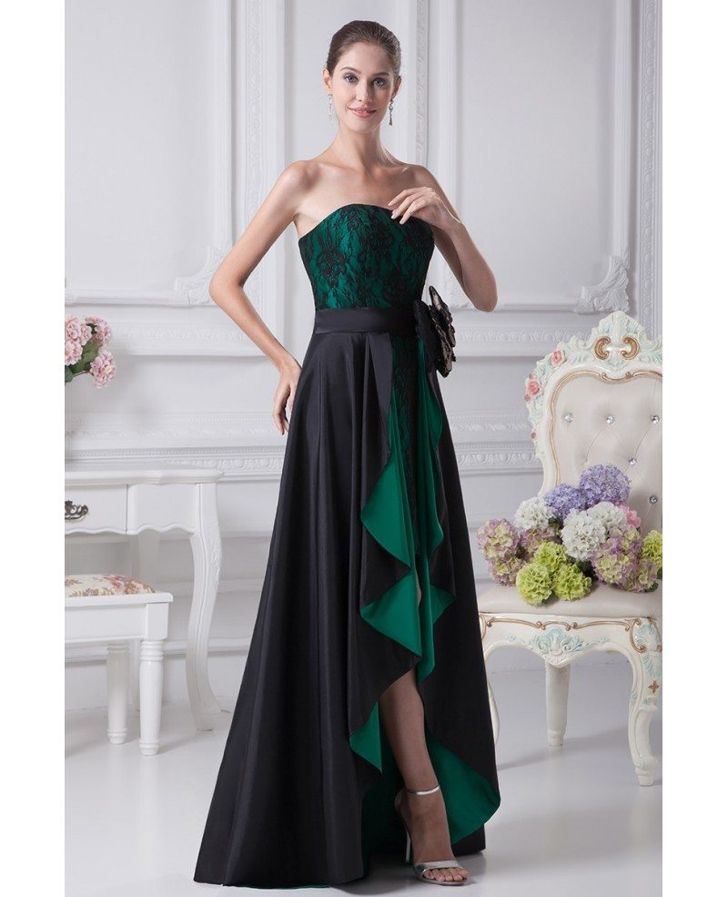 Black and Hunter Green Strapless Lace Bow Wedding Dress in Short ...