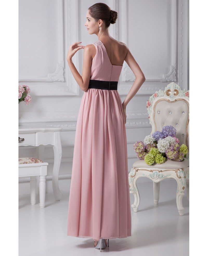 Simple pink one shoulder beaded strap chiffon bridesmaid dress simple pink one shoulder beaded strap chiffon bridesmaid dress with black sash ombrellifo Choice Image