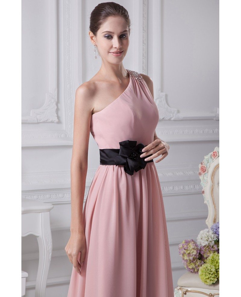 Simple pink one shoulder beaded strap chiffon bridesmaid dress simple pink one shoulder beaded strap chiffon bridesmaid dress with black sash ombrellifo Gallery