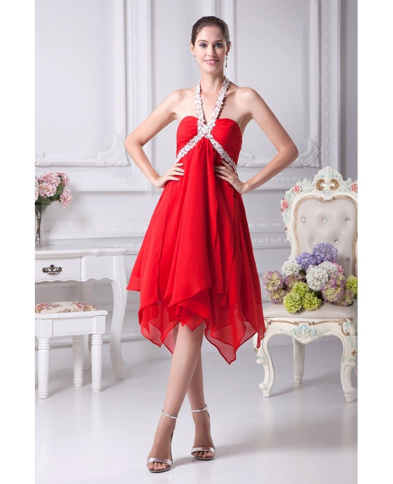 Hot Red Short Chiffon Crystal Prom Dress with Long Halter Neck ...