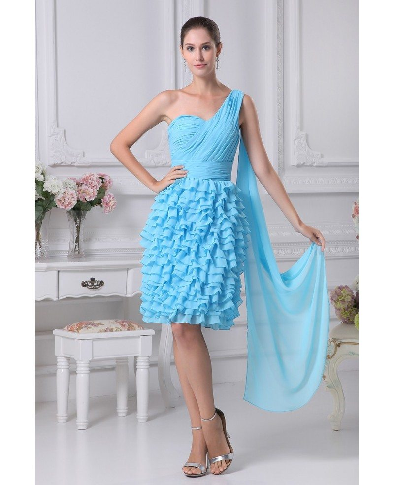 Layered Blue Knee Length Folded Party Dress in One Shoulder #OP4247 ...
