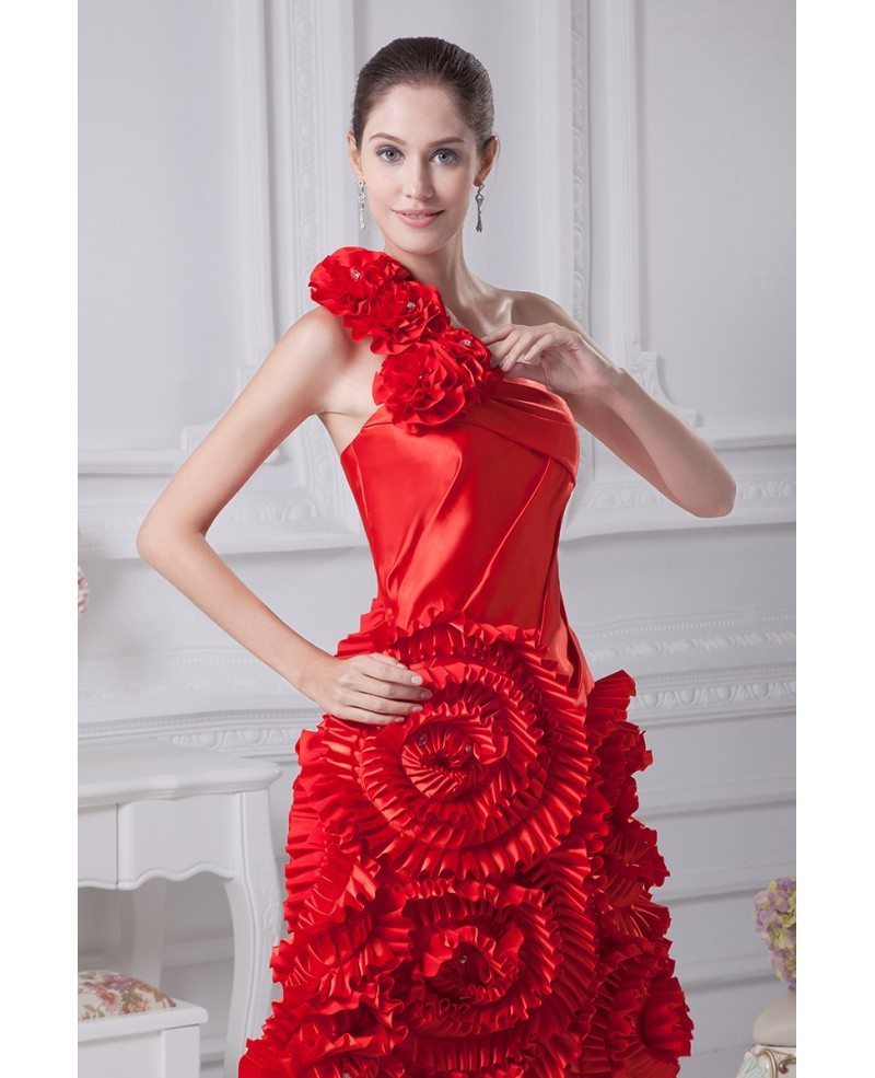 Red Reception Short Wedding Dresses Modern Beautiful Red One ...