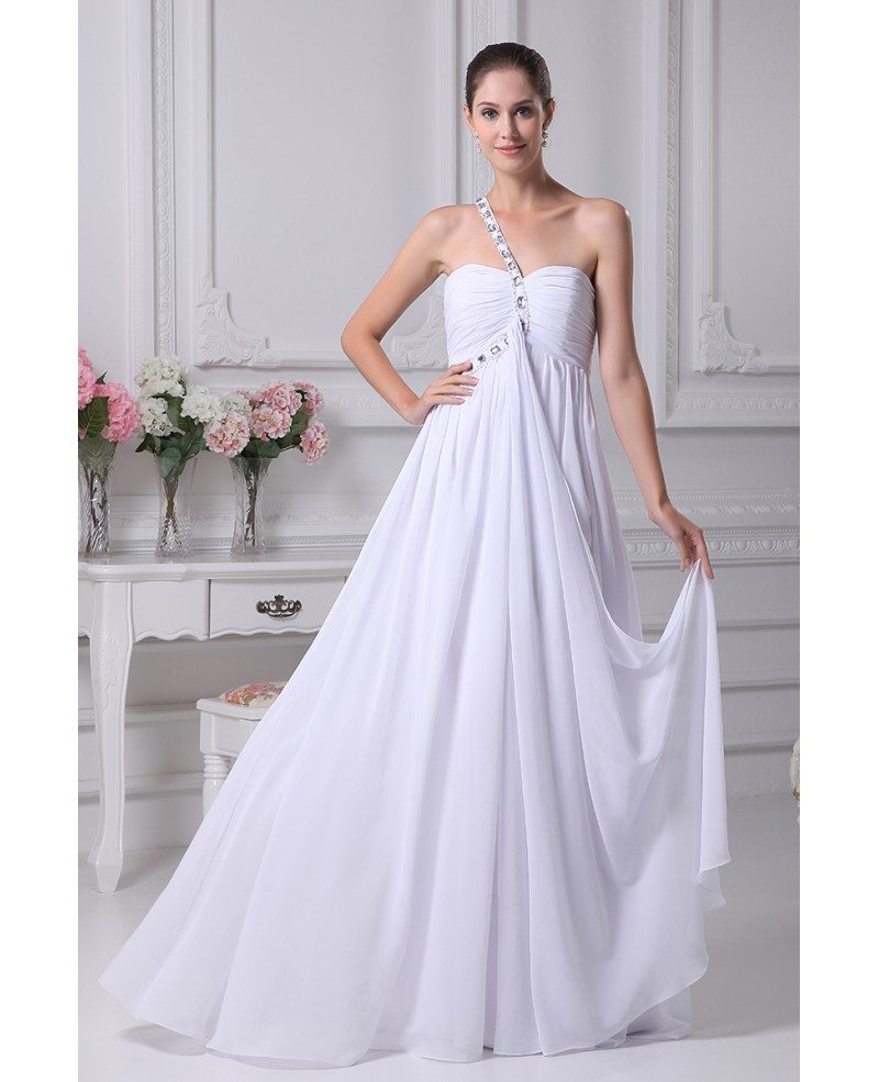 Plain white pleated chiffon bridal dress with one beaded for Plain white wedding dress