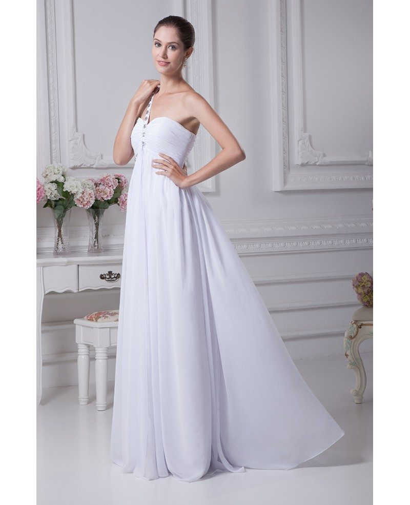 Plain white pleated chiffon bridal dress with one beaded for Plain wedding dresses with straps