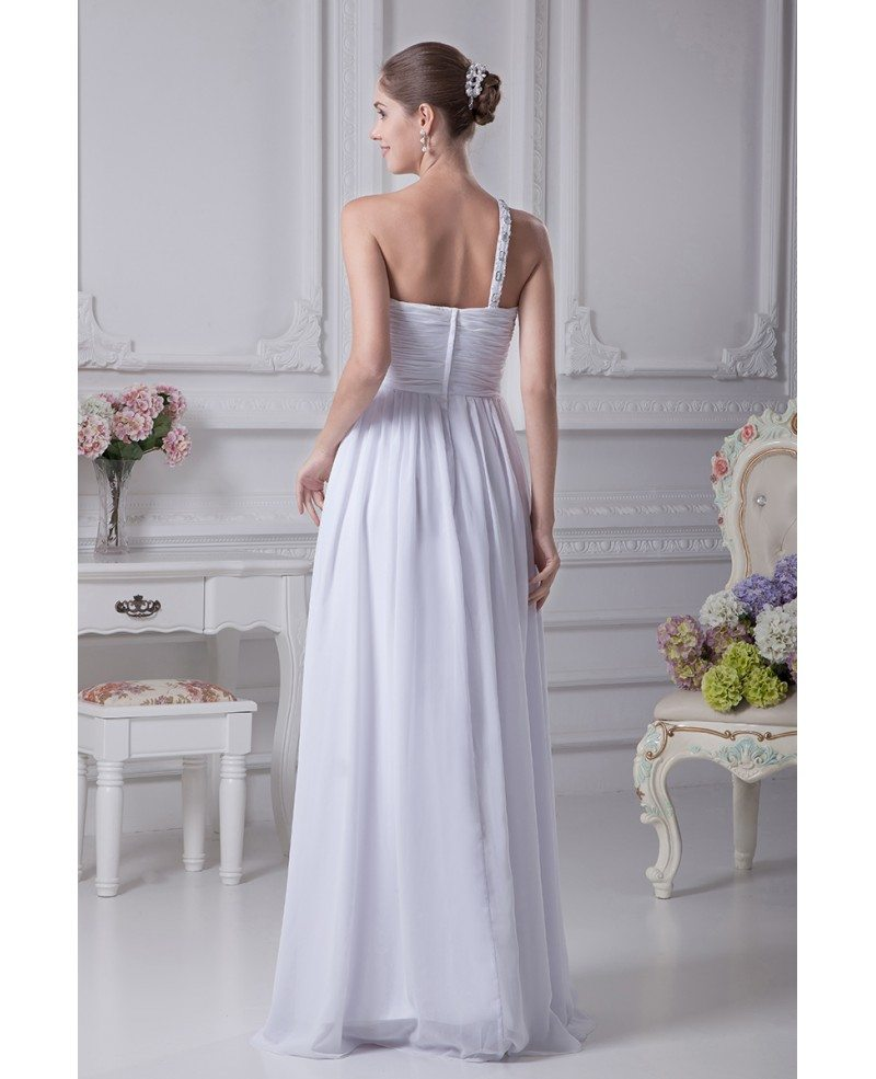 One Strap Wedding Gowns: Plain White Pleated Chiffon Bridal Dress With One Beaded