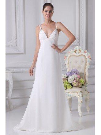 Simple Deep V Chiffon White Train Bridal Dress with Spaghetti Straps