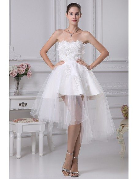 Cheap Short Wedding Dresses Tulle Strapless Beautiful Satin Lace ...
