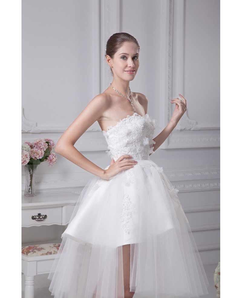 Beautiful Dresses To Wear To A Wedding: Cheap Short Wedding Dresses Tulle Strapless Beautiful