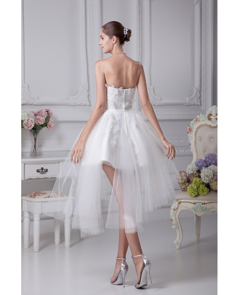 Cheap short wedding dresses tulle strapless beautiful for Short wedding dress with lace