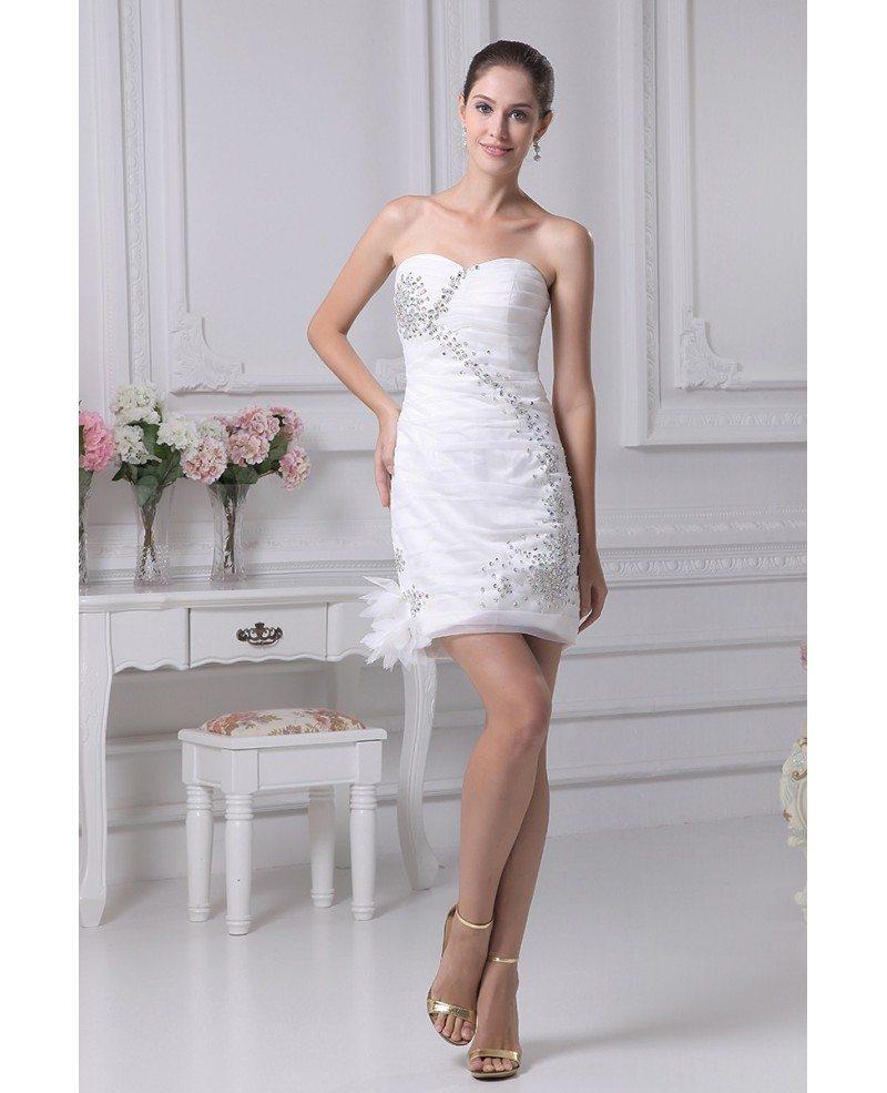 Little white short wedding dresses fitted strapless simple for Simple white strapless wedding dress