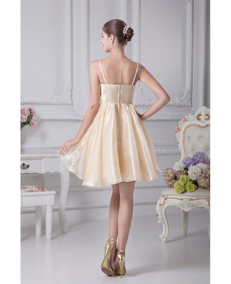 Cute Wedding Ideas For Reception: Champagne Short Wedding Dresses Reception Spaghetti Straps