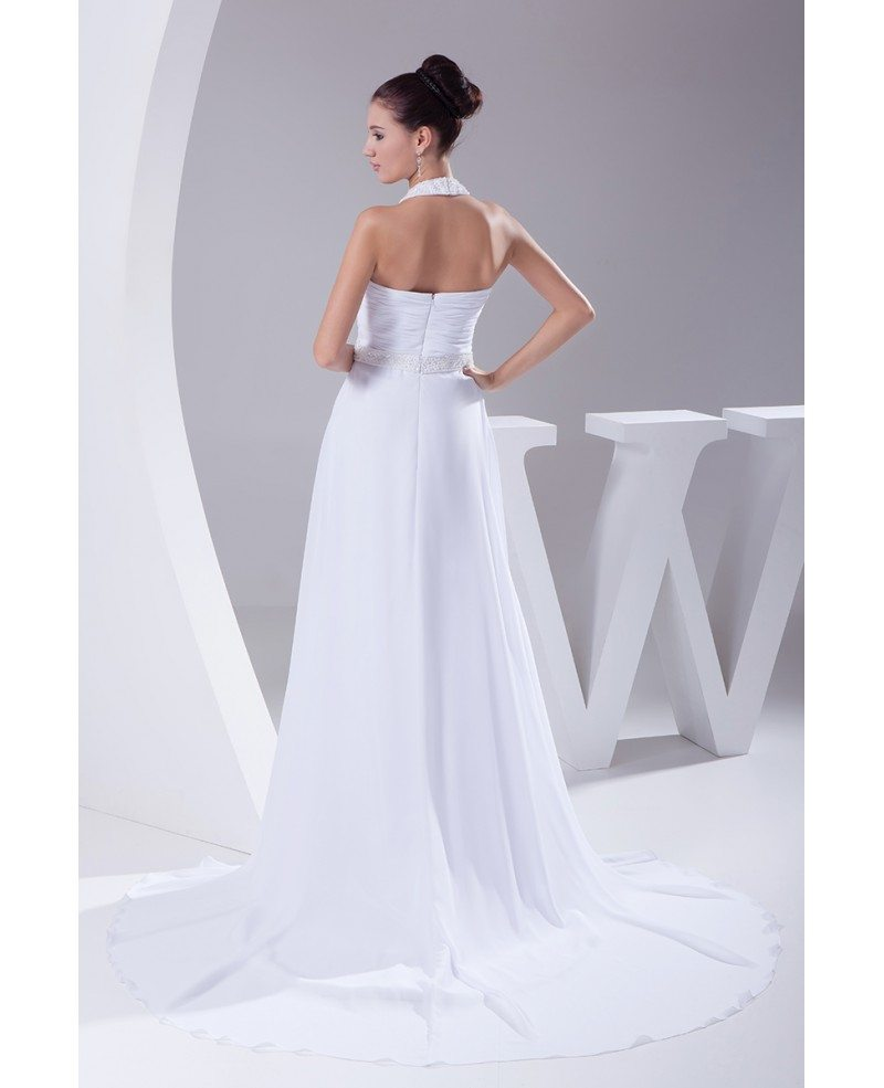 Plain white long halter beading chiffon wedding dress with for Long white wedding dresses