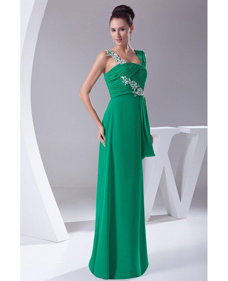 Hunter Green Long Slim Chiffon Evening Dress With Lace