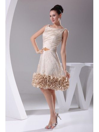 Unique Tulle Lace Short Champagne Formal Dress with Beading Sash