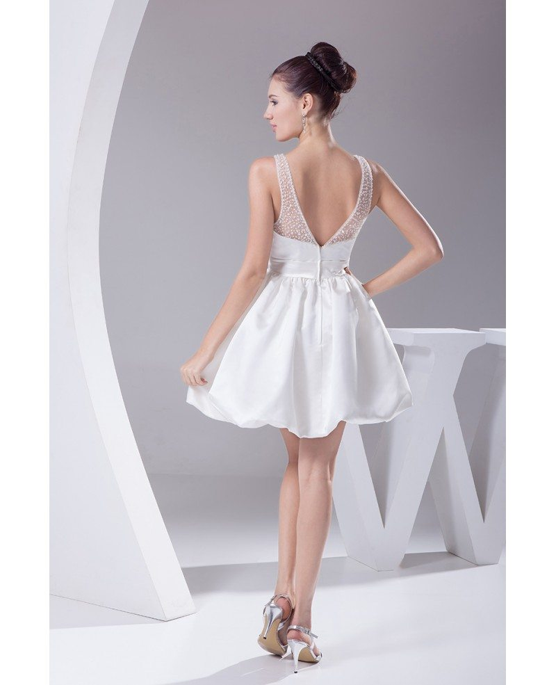 Simple Short Wedding Dresses Sweetheart Backless White ...
