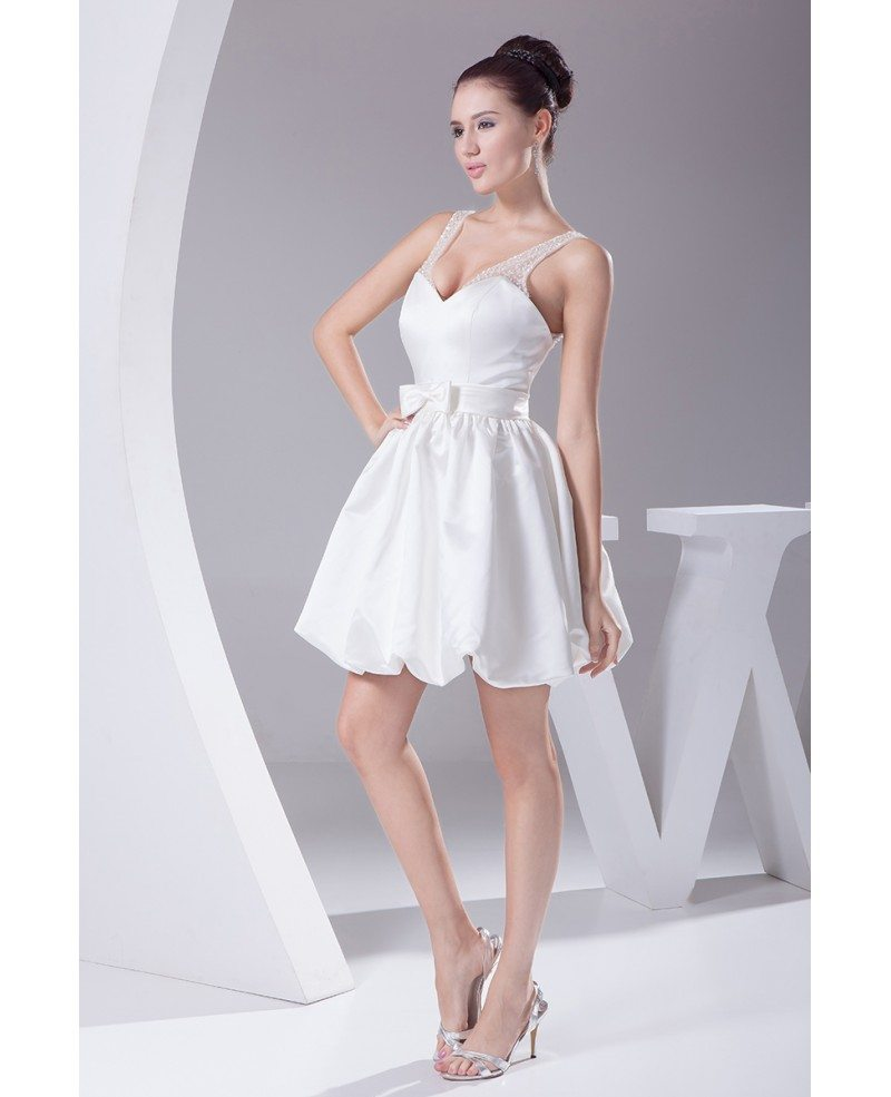 Simple short wedding dresses sweetheart backless white for Sweetheart wedding dress with straps
