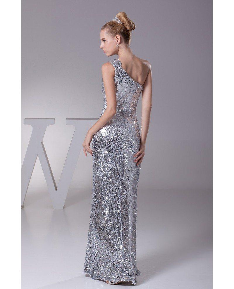 Unique Silver One Shoulder Sequined Formal Dress In Floor Length