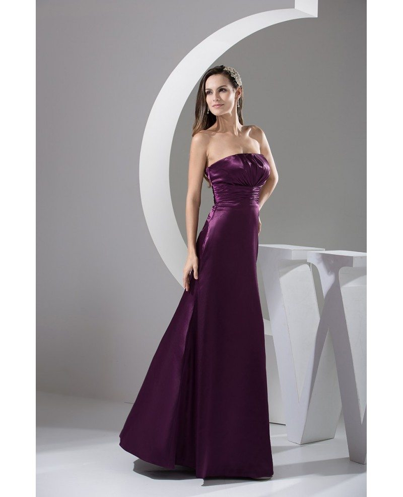 Purple a line strapless floor length satin bridesmaid for A line floor length wedding dress