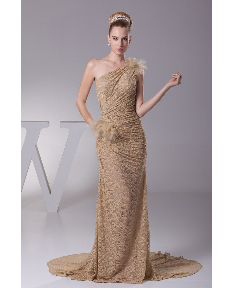 Elegant lace pleated mermaid train brown wedding dress in for Lace one shoulder wedding dress
