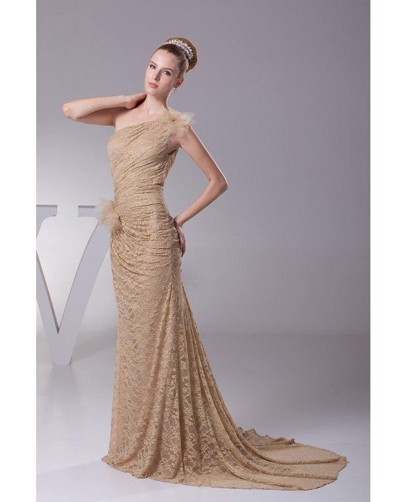 Mermaid Train: Elegant Lace Pleated Mermaid Train Brown Wedding Dress In