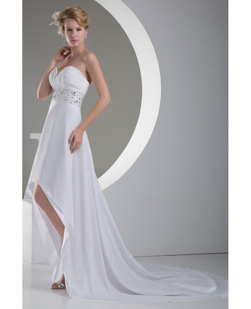 A Line Sweetheart Asymmetrical Chiffon Wedding Dress With