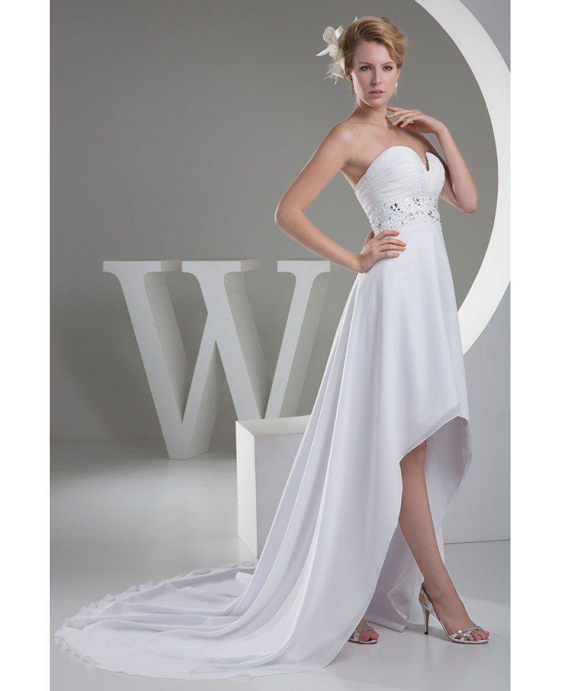 A line sweetheart asymmetrical chiffon wedding dress with for A line chiffon wedding dresses