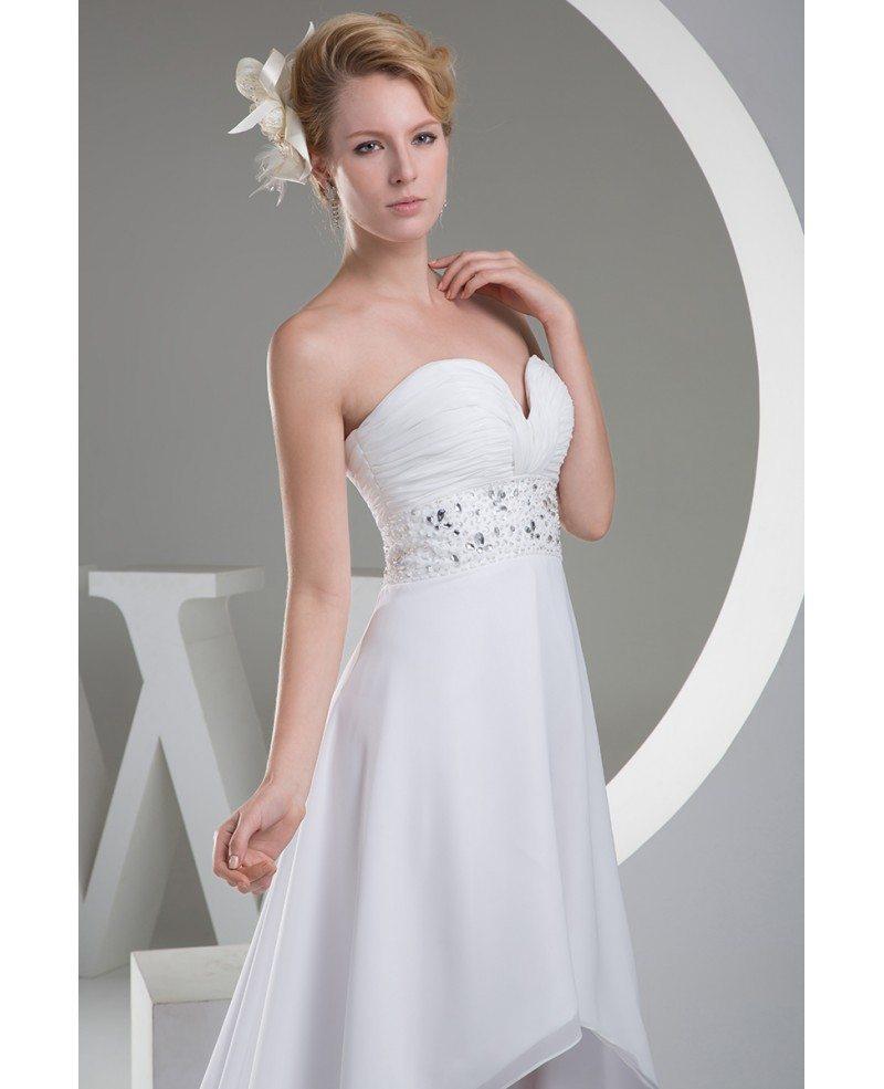 A line sweetheart asymmetrical chiffon wedding dress with for A line chiffon wedding dress