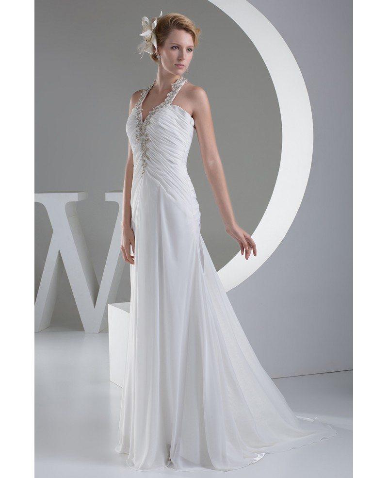 A line halter sweep train chiffon wedding dress with for Sweep train wedding dress