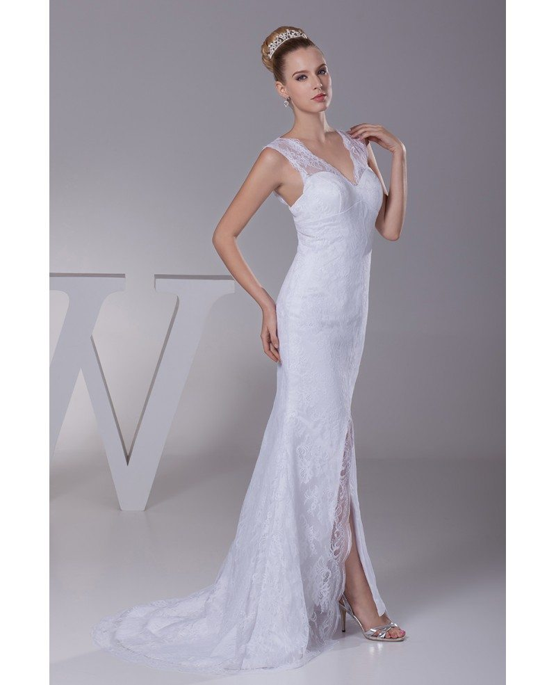 Split Front All Lace Sexy Tight Fit And Flare Wedding Dress With Sweetheart Neckline