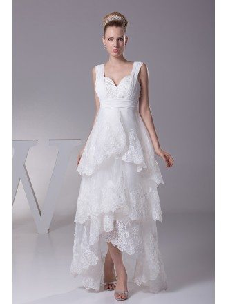 Gorgeous Short in Front Long in Back Lace Layered Wedding Dress with Sweetheart Neck
