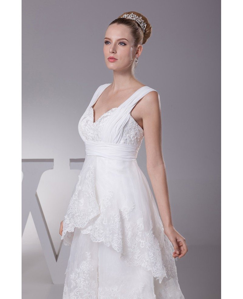 Gorgeous short in front long in back lace layered wedding for Short sweetheart wedding dress