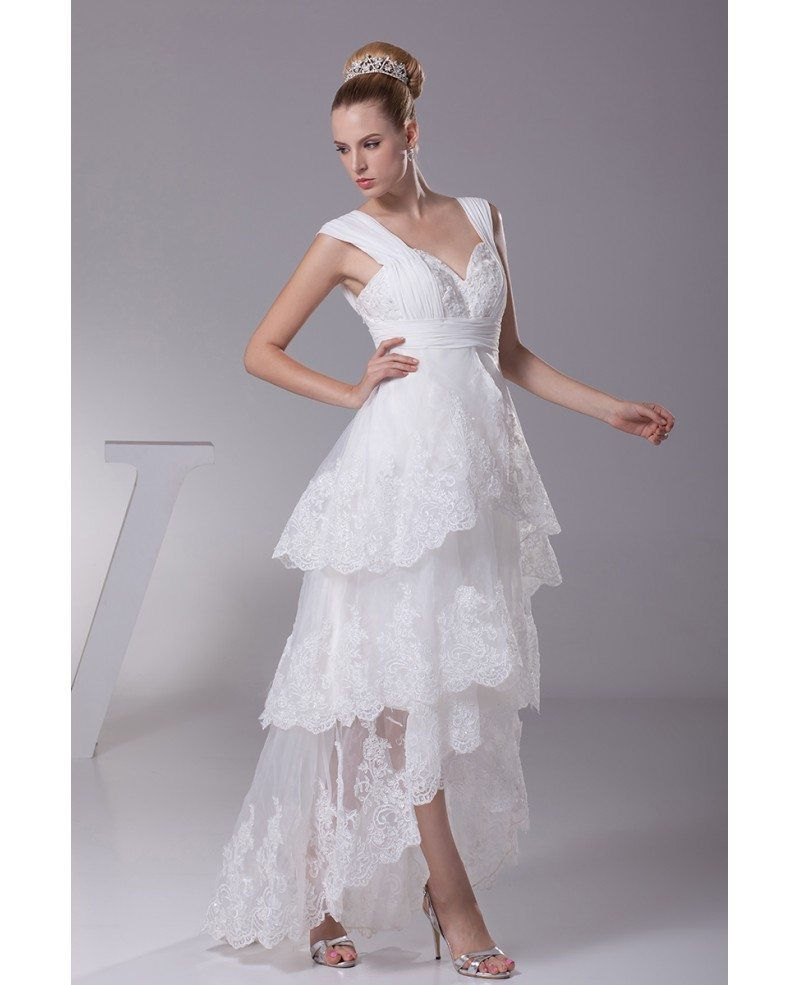 Gorgeous Short In Front Long In Back Lace Layered Wedding